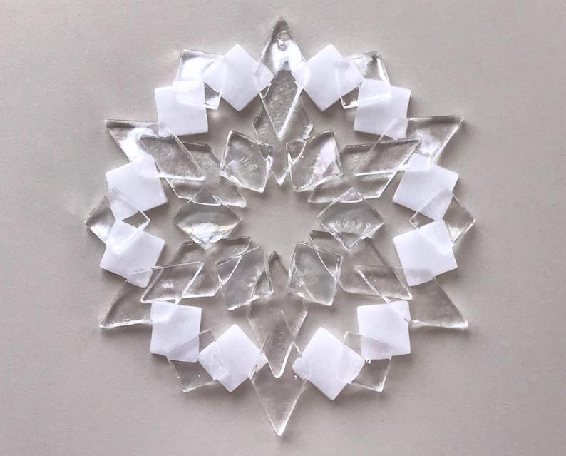 Fused Glass Snowflake Ornament / Suncatcher:  white & iridized image 1