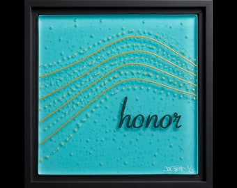 Honor fused glass wall art (framed) - wedding gift, anniversary gift, renewal of vows