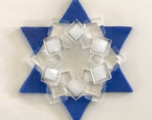 Fused Glass Star of David Ornament: blue, white & iridized clear - jewish star, hanukkah decoration, grandma gift, judaica gift