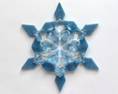 Fused Glass Snowflake Ornament / Suncatcher: dusty blue, powder blue & clear - teacher gift, thank you gift, hanukkah decor, christmas gift