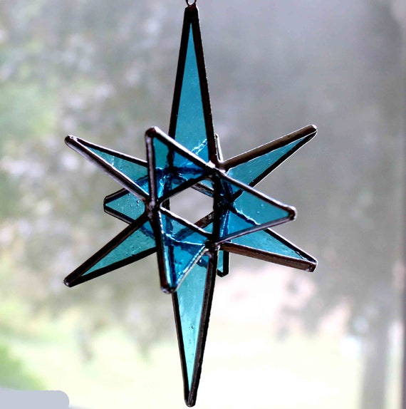 LARGE 7 INCH MORAVIAN STAINED GLASS MULTI COLOR STAR FREE SHIPPING!