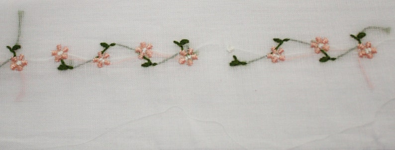 Peach Floral Swiss Handloom Insertion 1/4 Yard Additional image 0
