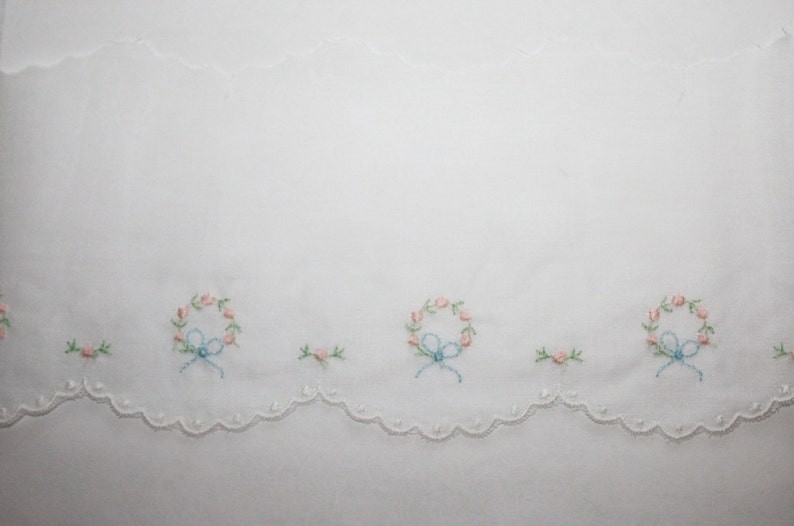 1/2 yard Pink Blue and Green Floral Swiss Embroidery Edging image 0