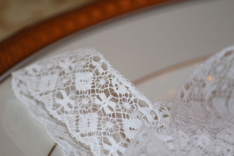 Two Yards White French Lace Edging image 0