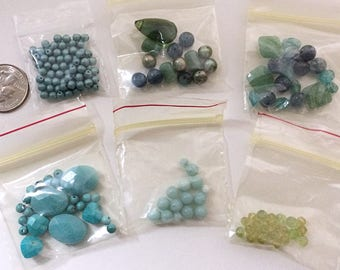 Mixed Bead Lot Destash Jewelry Making Crystals Dyed Pearls Briolettes Faceted Stones Glass Blues Greens