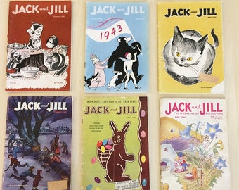 Lot of 6 Vintage Jack and Jill Magazine for Boys and Girls Paper Dolls Puzzles Illustrations Kids 1940s 1950s