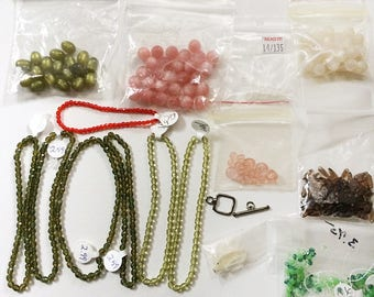 Mixed Bead Lot Destash Bicone Crystal Beads Plus Glass and Plastic Beads Bird Shaped Novelty Bead Charm