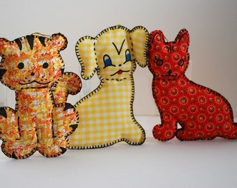 3 Vintage Style Animal Ornaments Dog Cat Tiger Plush Old Fashioned 1940s Pattern Crib Dolls Nursery Gingham Circus Calico Country Kids