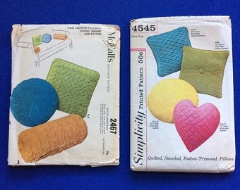 2 UNCUT Vintage Throw Pillow Sewing Patterns 1960s Mid-Century Modern Home Dec McCall's 2467 Simplicity 4545 Smocking Shabby Chic Cottage