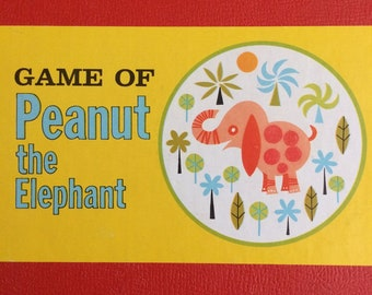 Adorable Vintage Peanut the Elephant Game Board for Kids Parker Bros Mid Century Cute 1960s Altered Art