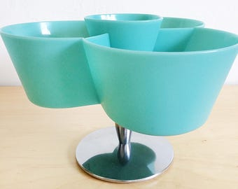 Unique Space Age Mid-Century Modern Aqua Plastic Chip and Dip Snack Serving Set 1960s Party Hosting Entertaining