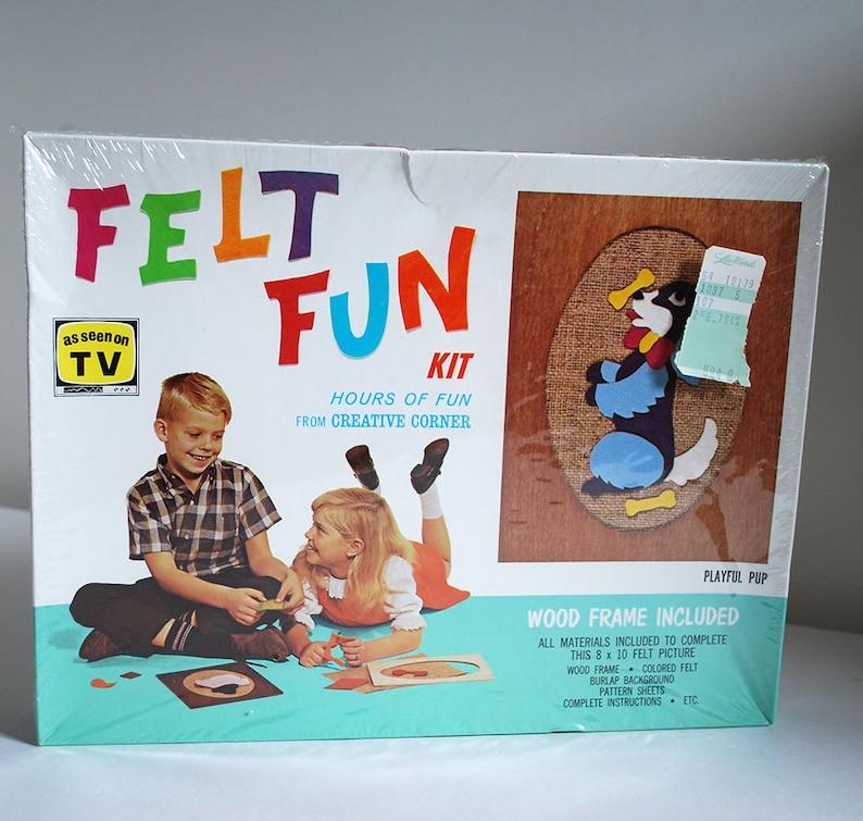 Vintage Felt Fun Craft Toy Kit Kids Activity Assembly Art Game Dog Picture  Pup NIB Creative Education Mid Century Children Artwork MCM 1960s