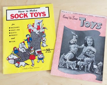 2 Vintage Sewing For Children Soft Toys Pattern Booklets How to Make Sock Toys Pack-O-Fun + Easy-to-Sew Toys Clark's O.N.T. – J. & P. Coats