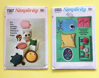 2 Vintage 1960s Home Dec Accessories Pillow Sewing Patterns MCM Kid Cuddle Toys and Rick-Rack Trim Appli-tiques Simplicity 7367 6805