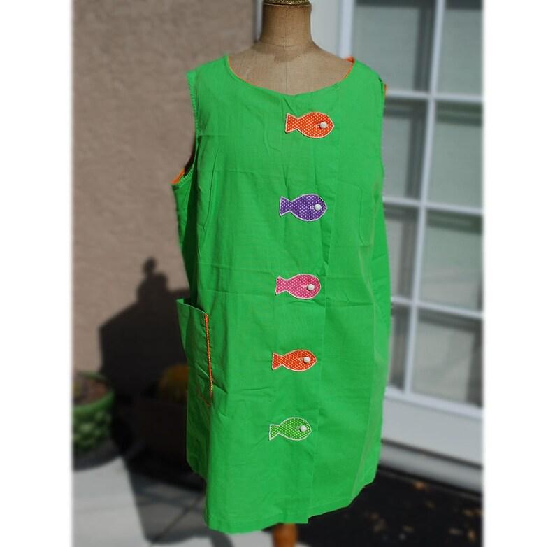e0dcfe753c8 Vintage Lime Green Smock or Sundress Apron Tunic Sears | Etsy