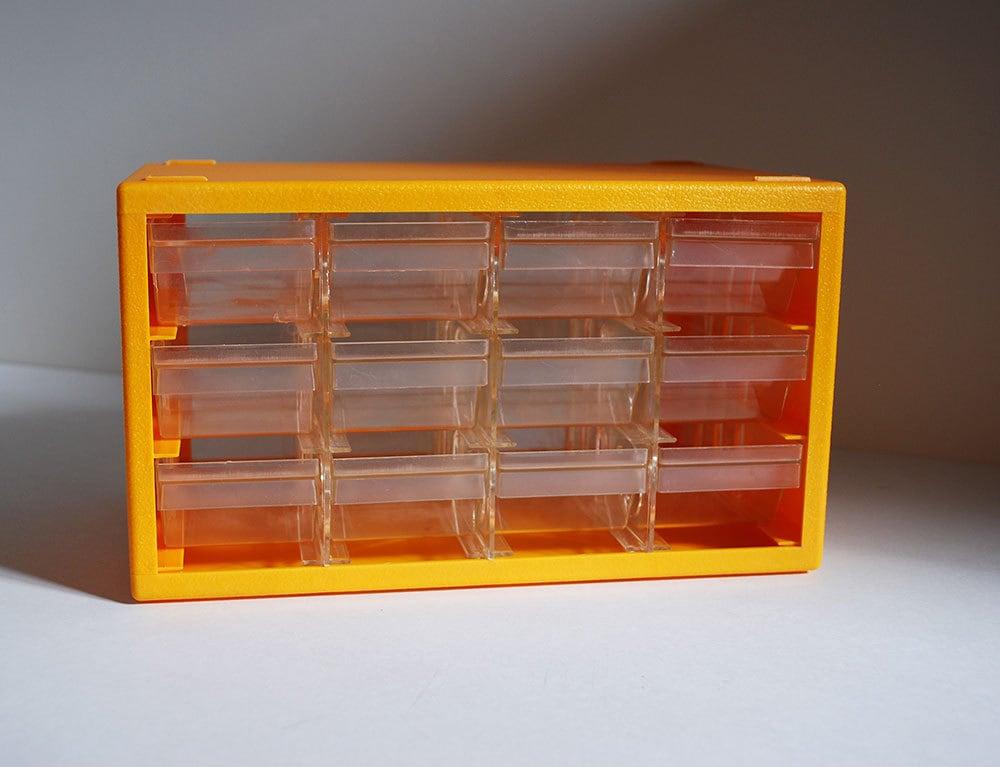 Vintage Yellow Plastic Organizer Drawers Modular Notions