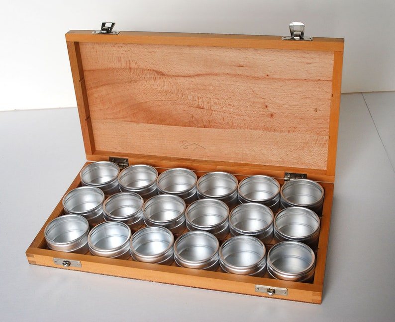 Wooden Box Of Specimen Containers Cans Canisters Watch Tins Small Storage Jewelry Spice Jars Clear Tops Craft Supplies Office Organization