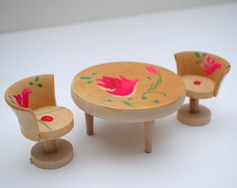 Vintage Japanese Table Chairs Dollhouse Doll House Furniture Furnishings Wood Wooden Japan Painted Foral Dining Flower Painted Kawaii
