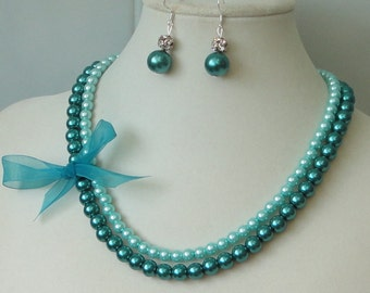 ON SALE BRIDESmaid Gift Teal & Turquoise Two Strand Pearl Bridal Maid Of  Honor Wedding Necklace Set By DYEnamite