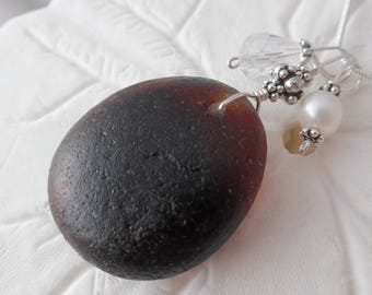 English Sea Glass Necklace Amber Brown Beach Glass Jewelry Sterling Pendant