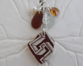 Sea glass Necklace Pottery Shard Beach Seaglass Sterling Jewelry