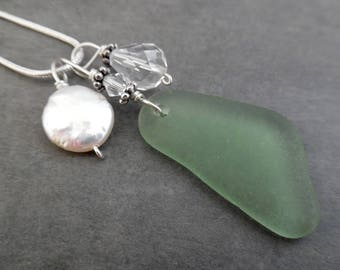 Pearl Sea Glass Necklace Beach Sterling Seaglass  Jewelry