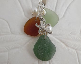 Sea Glass Charm Necklace Starfish Teal Green Beach Seaglass Pearl Pendant