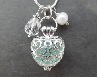Heart Sea Glass Locket Necklace Aqua Blue Jewelry Seaglass