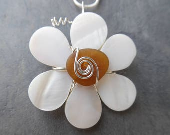 Shell Sea Glass Necklace Sea Shell  Flower Beach Glass Necklace Wedding Seaglass Jewelry Beach Wedding Pearl Sterling Silver