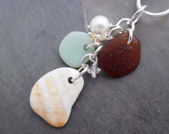 Seashell Sea Glass Necklace Sea Shell Beach Glass Jewelry Sterling