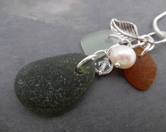 Green Leaf Sea Glass Necklace Beach Jewelry Pearl Sterling Pendant
