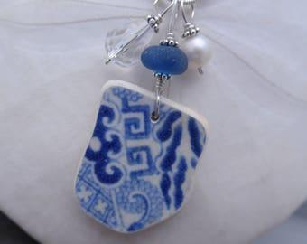 Blue Pottery Sea Glass Necklace Jewelry Pottery Shard Pendant Sterling