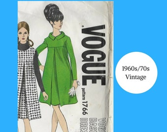 Twiggy Tent Dress 1960s 1970s Knee-length Dresses Jumper Vogue Vintage Sewing Pattern Sleeves Pocket Baby Bump Classy
