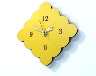 tiny scallop clock - Poppy red, vintage blue, natural birch, mint green & lemon yellow