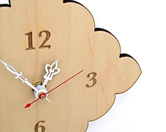 kitchen clock -  tiny scallop clock - scarlet, light blue, natural birch