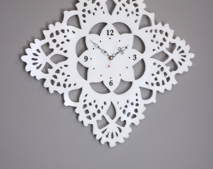 Large Lacy Doily Clock made of White Acrylic with Laser Engraved Numbers
