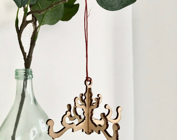 Mini Chandelier Christmas Ornament - Fits Flat Inside a Greeting Card
