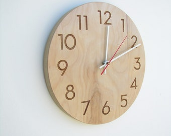 Modern Wall Clock - 10 inch Modern Wood Wall Clock with Natural Woodgrain & Laser Engraved Modern Numbers
