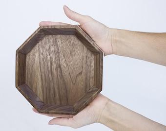 aqua and walnut jewelry tray