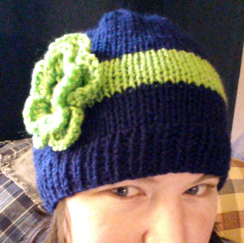 navy blue green flower Knit Seattle Seahawks Inspired Hat with Flower Woman/'s Large