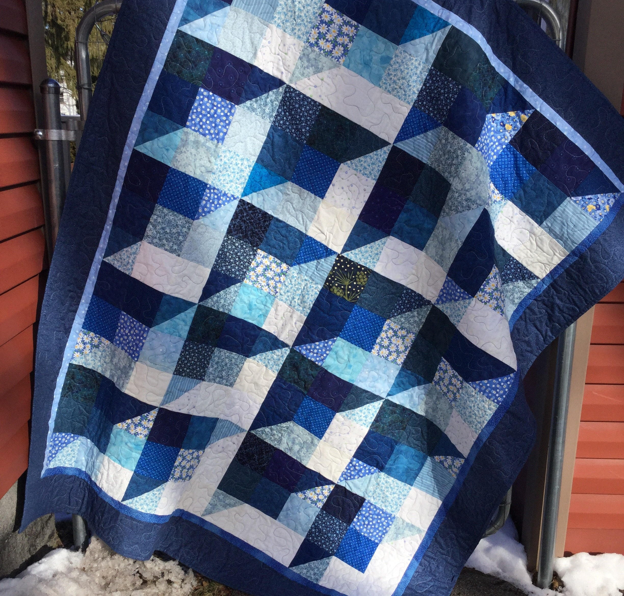 Winter blues scrappy quilt blue patchwork quilt blue lap quilttwin size quilt full size quilt blue white quilted throw handmade quilt