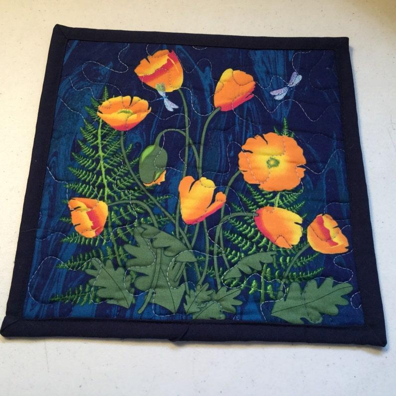 Floral Quilted Snack Mat Orange Poppy Floral Quilted Mini Placemat Quilted Blue Orange Floral Mug Rug