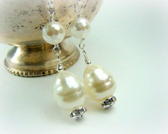 Pearl dangle earrings, pearl bridal earrings... Parisian Affair Earrings