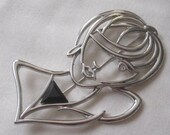 Large JJ Jonette Ladies Silhouette Face and Bust Brooch in Silver-tone with Black and Clear Crystal 1980 39 s