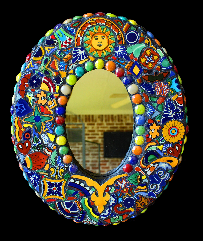 Mosaic Wall Mirror Made with Talavera Tiles