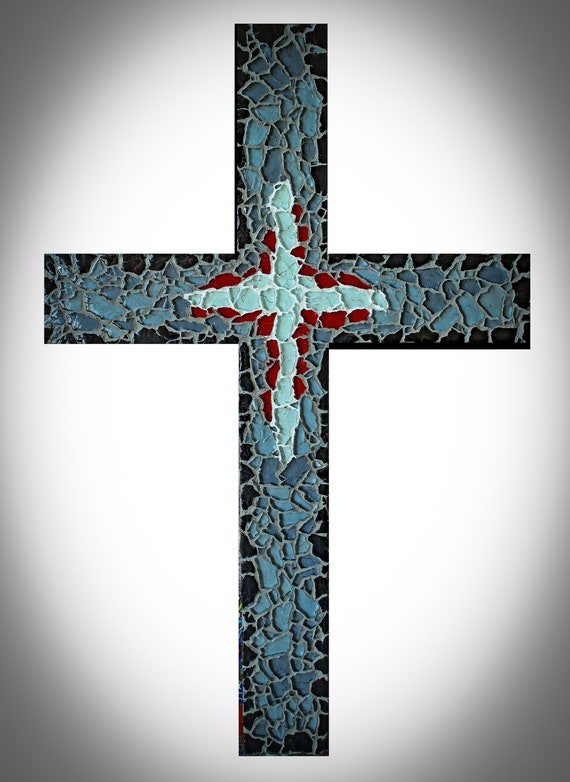Modern Contemporary Mosaic Glass Cross in Grays White and Red