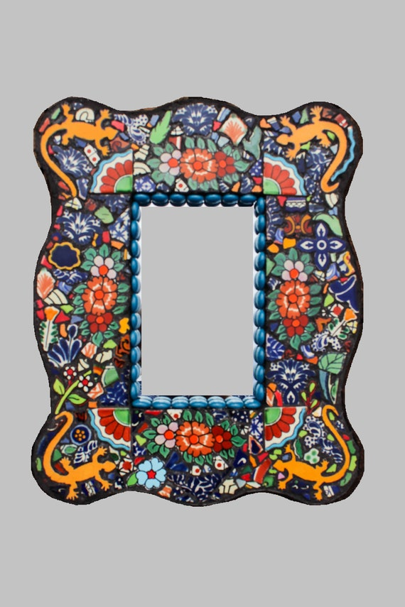 Gecko Mexican Southwestern Style Mosaic Garden Wall Mirror Made with Talavera Tiles