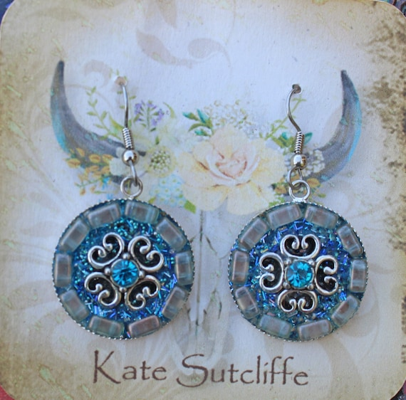 Mosaic Earrings in Teal with Teal Rhinestones