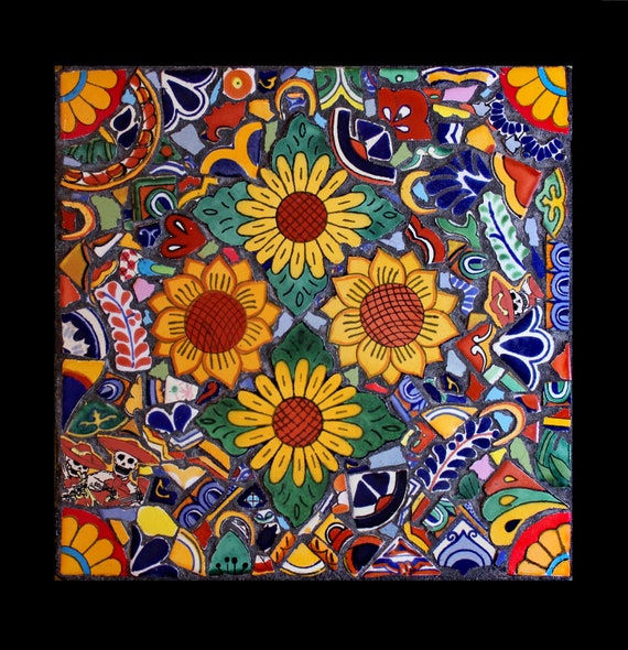 Colorful Rustic Mosaic Decor Art Made From Mexican Talavera Tiles