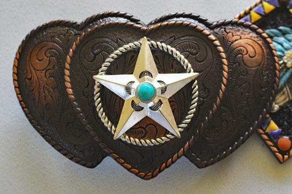 Three Heart Western Star Belt Buckle with Turquoise Howlite